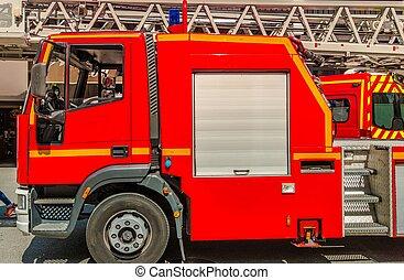 Red Firetruck on Duty