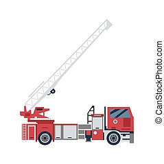 Red firetruck with big ladder, flat cartoon vector illustration isolated