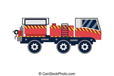 Red firetruck with white stripes, flat cartoon vector illustration isolated