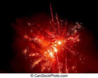 Red firework background