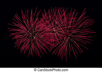 Red Fireworks on a black background
