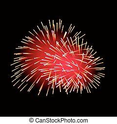 Red fireworks on dark background.