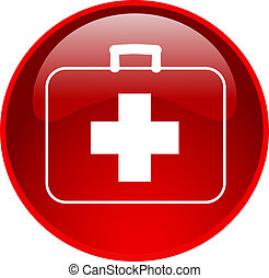 red first aid button - illustration of a red first aid...