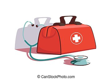 Red first aid kit and stethoscope equipment