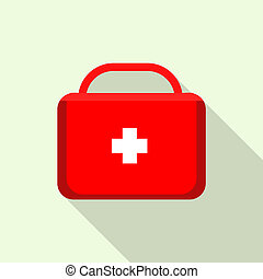 Red first aid kit icon, flat style