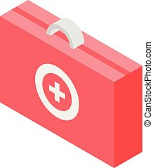 Red first aid kit icon, isometric style