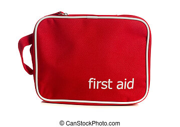 Red first aid kit on white