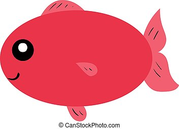 Red fish, illustration, vector on white background.