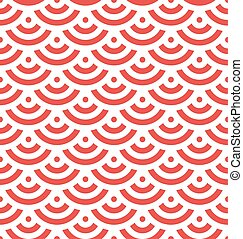 Red fish scale background of concentric circles. Abstract seamless pattern looks like roofing tiles. Vector illustration