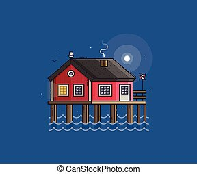 Red Fisherman Stilt House