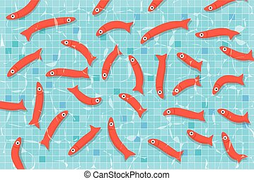 Many red small fishes swimming in pool with clear water. Aquarium