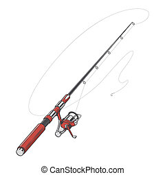 Red fishing rod, spinning with bait isolated on a white...