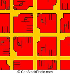 Red fist pattern seamless. Hand of man Vector background