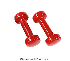 Red fitness dumbbells - Two red fitness dumbbells isolated...