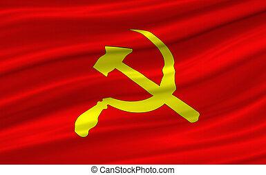 Red Flag - hammer and scythe on red waving flag