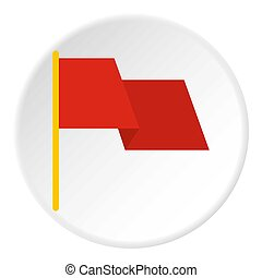 Red flag icon circle
