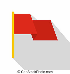 Red flag icon, flat style
