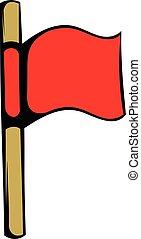 Red flag icon, icon cartoon