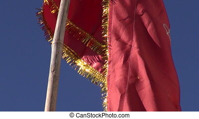 red flag in Shiva temple,India