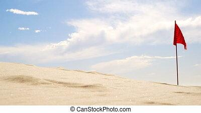 Red flag in the desert 4k - Red flag in the desert on a...