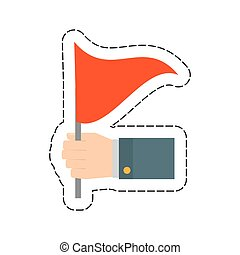 red flag in the hand icon