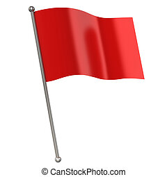 red flag isolated 3d illustration