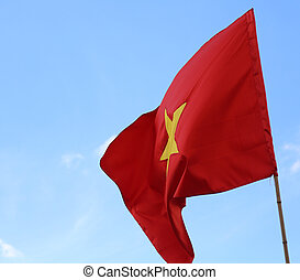 red flag of VIETNAM with the yellow star waving