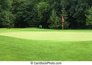 Red flag on a golf course