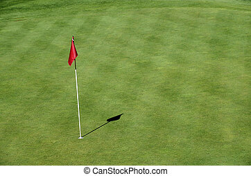 Red flag on Golf in Talloires, Annecy lake, France