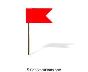 Red flag pin with shadow