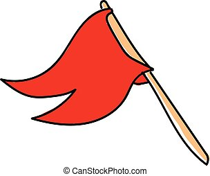 Red flag, vector or color illustration.