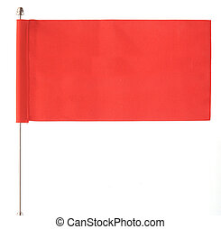 red flag waving on the wind. Isolated over white. Put your own text