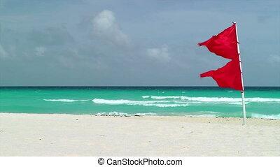 Red Flag Waving on Tropical Beach