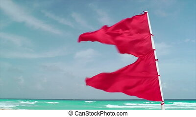 Red Flag Waving on Tropical Beach