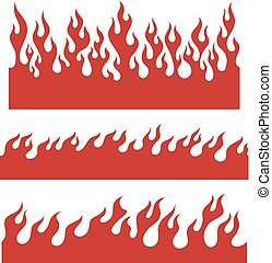 Red flame elements for the endless border - Red fire bars, ...