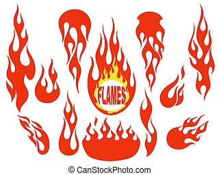 Red flame elements set