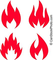 Red flame silhouette vector icons set on white background