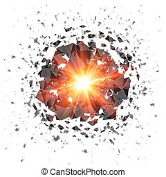 Red flaming meteor explosion isolated on white background