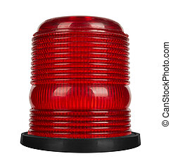 Red flashing beacon isolated on white