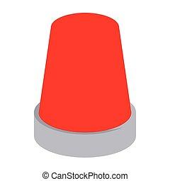 Red flashing emergency light icon, cartoon style