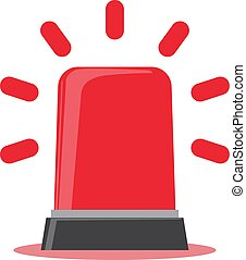 Red flashing light cartoon for Police, ambulance, or Firefighters siren sign