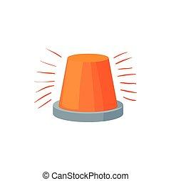 Red flashing light icon, cartoon style