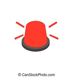 Red flashing light icon, isometric 3d style
