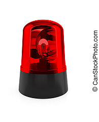 Red flashing light - 3d render of red flashing light on a...