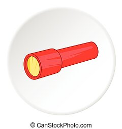 Red flashlight icon, cartoon style