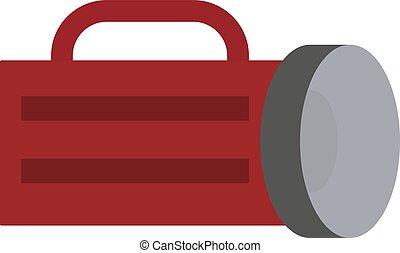 Red flashlight, illustration, vector on white background.