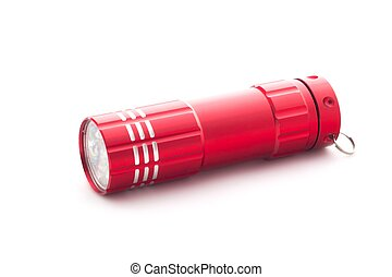 Red flashlight on white background