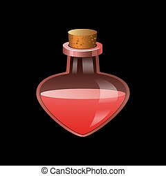 Red flask icon, cartoon style