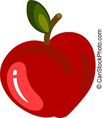 Red flat apple, illustration, vector on white background.
