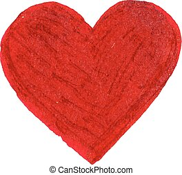 Red flat brush painted vector heart